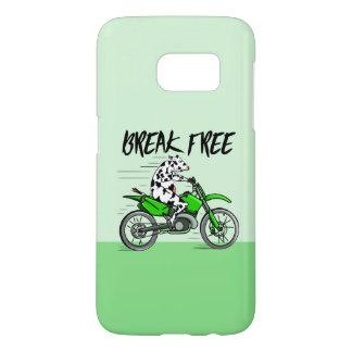 Kuh, die ein hellgrünes Motorrad reitet