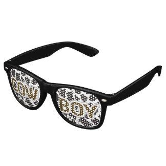 Kuh-Jungen-Kuhmusterhintergrund Retro Sonnenbrillen
