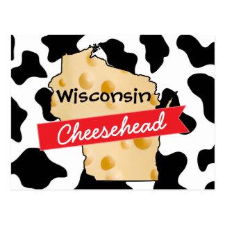 Kuh-Muster-Postkarte Wisconsins Cheesehead Postkarte