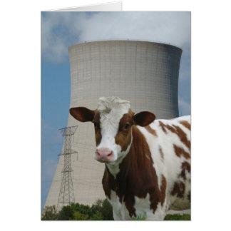 Kuh u. nukleare Power-Kühlturm-Gruß-Karte Karte