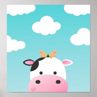 Kuh-u. Schmetterlings-Freundin-Kinderzimmer Poster