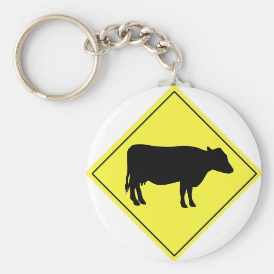 Kuh-Überfahrt-Zeichen Standard Runder Schlüsselanhänger