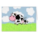 Kuh und Baby Grußkarte