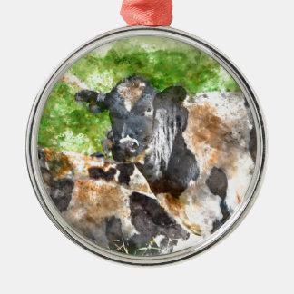 Kühe auf dem Gebiet Silbernes Ornament