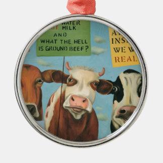 Kühe auf Streik Silbernes Ornament