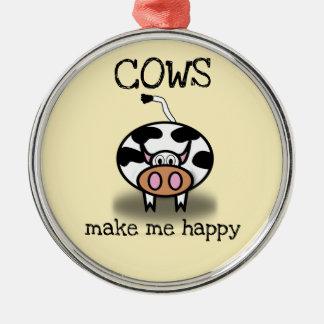 Kühe machen mich glücklich silbernes ornament