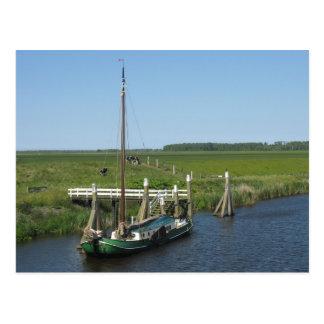 Kühe und Boot in Friesland Fryslan Postkarte