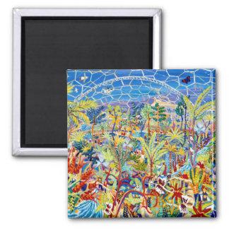 Kühlschrank-Kunst: Garten Eden. Das Eden-Projekt Quadratischer Magnet