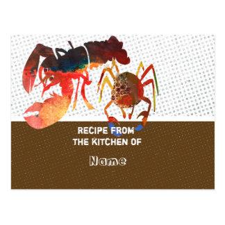 Kulinarische niedliche Krabben-und Postkarte