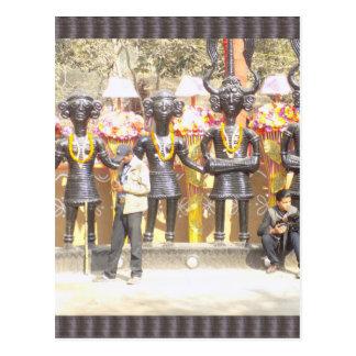 Kulturelle Showstatue Indiens der Musikerkünstler Postkarte