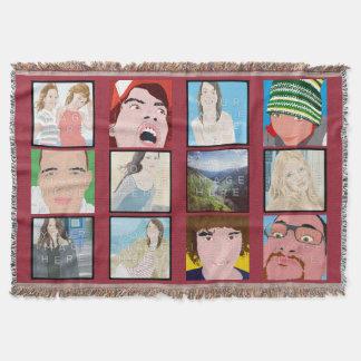Kundengebundene Wurfs-Decke Instagram Mosaik-DPs Decke