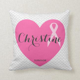 Kundengebundenes rosa Herz-Band-Namenskissen Kissen