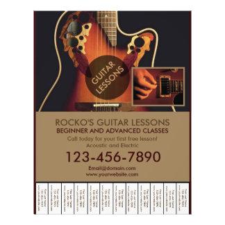 Kundengerechte berufliche Gitarrenlektions-Flyer 21,6 X 27,9 Cm Flyer