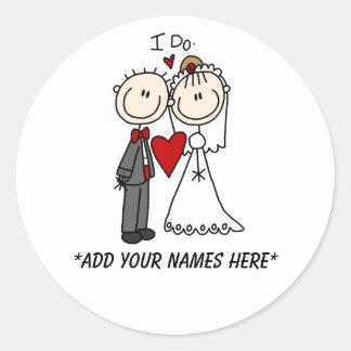 Kundengerechte Braut-und Bräutigam-Aufkleber Runder Aufkleber