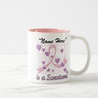 Kundengerechte Brustkrebs-Überlebend-Tasse Zweifarbige Tasse