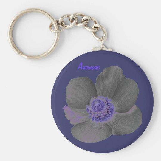 Kundengerechte Dunkelheit träumt Anemonen-Blume Standard Runder Schlüsselanhänger