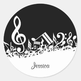 Kundengerechte durcheinandergebrachte musikalische runder aufkleber