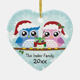 Kundengerechte Eulen-Familien-Herz-Verzierung Keramik Ornament