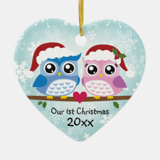 Kundengerechte Eulen-Paar-Herz-Verzierung Keramik Ornament