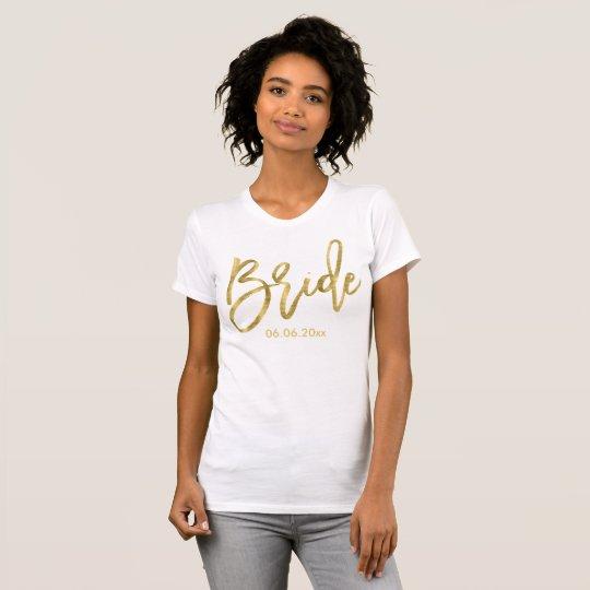Kundengerechte Goldfolien-Effekt-Braut-Shirts T-Shirt