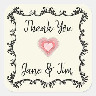 Kundengerechte Hochzeit danken Ihnen Siegel Quadratischer Aufkleber