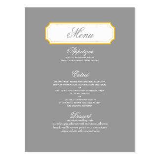 Kundengerechte Hochzeits-Menü-Karte Postkarte