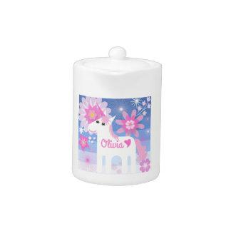 Kundengerechte hübsche rosa Unicorn-Teekanne