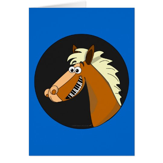 Kundengerechte Klavier-Pferdegruß-Karte (blau) Grußkarte