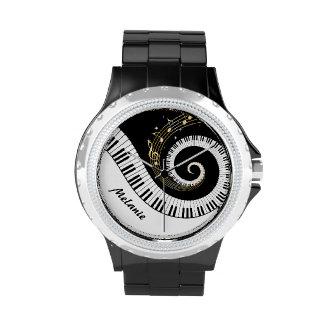 Kundengerechte Klavier-Schlüssel und GoldMusiknote Armbanduhr