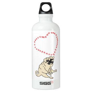 Kundengerechte Liebe-Mops-Wasser-Flasche Aluminiumwasserflasche