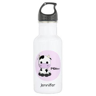 Kundengerechte Mädchen des rosa girly Kuh-Cartoon Trinkflasche
