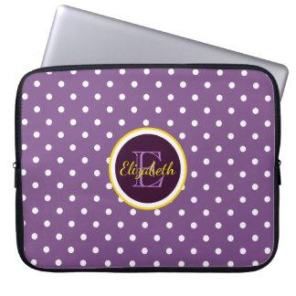 Kundengerechte Namen-u. Monogramm-lila Laptop Sleeve
