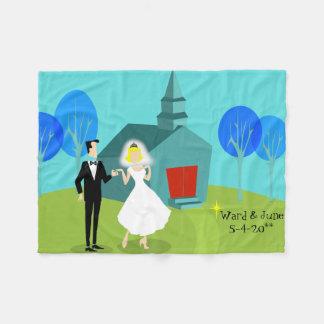 Kundengerechte Retro Hochzeits-Paar-Fleece-Decke Fleecedecke