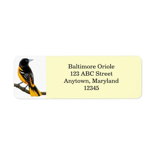 Kundengerechter Baltimore Oriole-Vogel Avery Rücksende Aufkleber