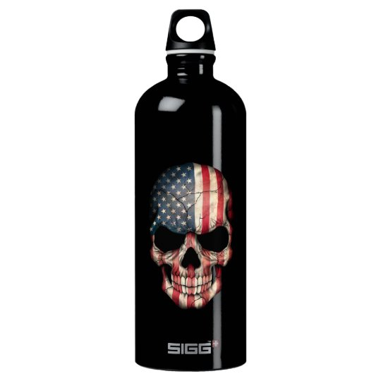 Kundengerechter Flagge-Schädel Aluminiumwasserflasche