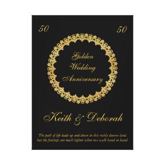 Kundengerechter goldener Hochzeitstag Galerie Gefaltete Leinwand