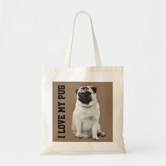 Kundengerechter Mops-illustrierte Taschen-Tasche Tragetasche