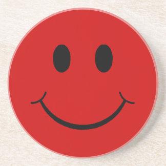 Kundengerechter Retro roter smiley Sandstein Untersetzer