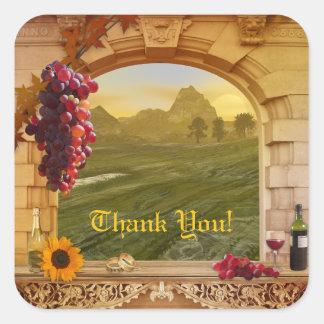 Kundengerechter Weinberg (Hochzeit) danken Ihnen Quadrat-Aufkleber