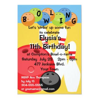 Kundengerechtes Bowlings-Geburtstags-Party Karte