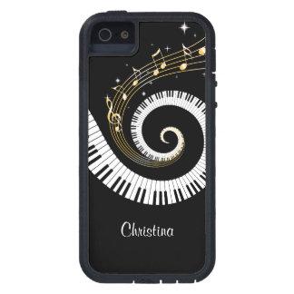 Kundengerechtes Klavier-Schlüssel und GoldMusiknot iPhone 5 Case