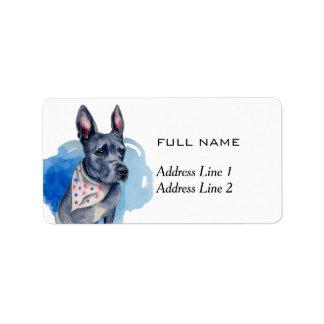 Kundengerechtes Pitbull-Hundeblau-Aquarell Adress Aufkleber