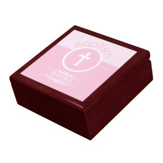 Kundengerechtes, rosa Mädchen-Kind der Gott-Taufe Geschenkbox