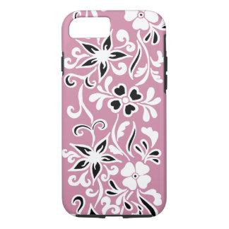 Kundengerechtes schwarzes u. weißes Blumenmuster iPhone 7 Hülle