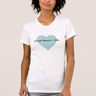 Kundengerechtes Shirt der Aqua-Herz-Strand-Liebe