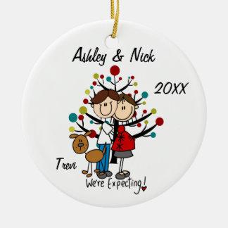 Kundenspezifische erwartungsvolle Paare mit Keramik Ornament