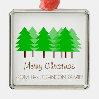 Kundenspezifische FAMILIE fröhliche Quadratisches Silberfarbenes Ornament