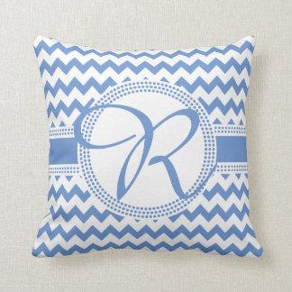 Kundenspezifische Farbkursivmonogramm-Blau und Kissen