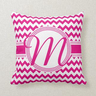 Kundenspezifische Farbkursivmonogramm-Pink und Zierkissen