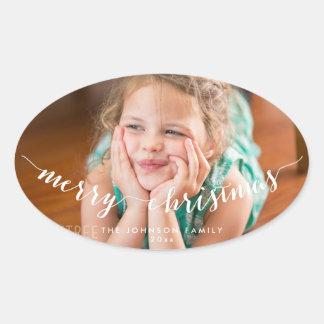Kundenspezifische Foto-frohe Ovaler Aufkleber
